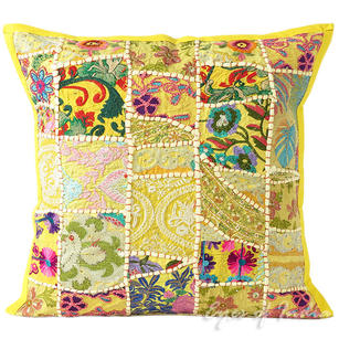 Yellow Patchwork Colorful Decorative Cushion Pillow Throw Cover Boho Bohemian
