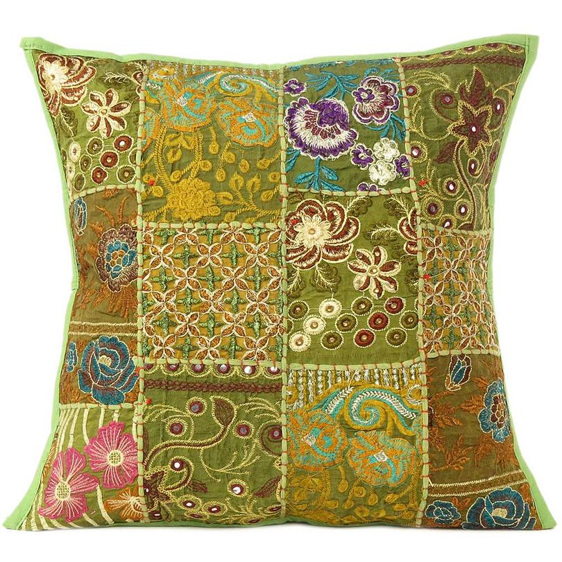 Olive Green Patchwork Decorative Pillow Sofa Cushion Cover Case Throw Colorful Boho Chic Handmade