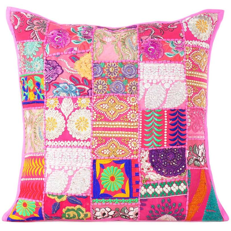 Pink Patchwork Colorful Decorative Sofa Pillow Cover Cushion Throw Bohemian Accent Handmade