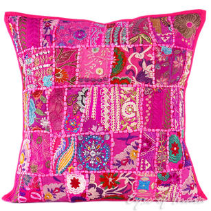 Pink Patchwork Colorful Decorative Sofa Pillow Cover Cushion Throw Bohemian