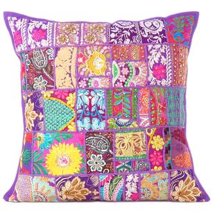 Purple Patchwork Decorative Pillow Couch Cushion Cover Case Sofa Throw Bohemian Accent Handmade