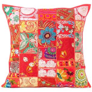 Red Patchwork Colorful Decorative Throw Couch Pillow Cover Case Cushion Boho Chic Bohemian Accent Handmade