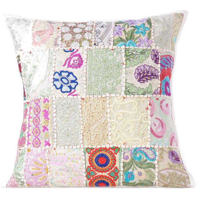White Patchwork Colorful Decorative Sofa Throw Couch Pillow Cover Case Cushion Boho Chic Handmade