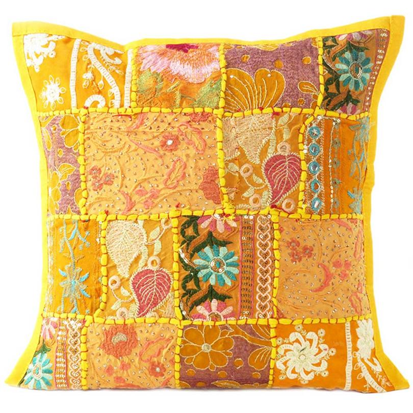 Yellow Colorful Decorative Couch Sofa Pillow Cover Case Patchwork Cushion Throw Bohemian Accent Boho Chic Handmade