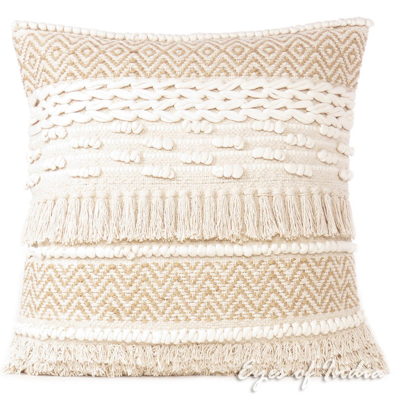 "20"" Beige Cream Woven Tufted Tassel Cushion Pillow Cover Fringe Sofa Couch Throw"