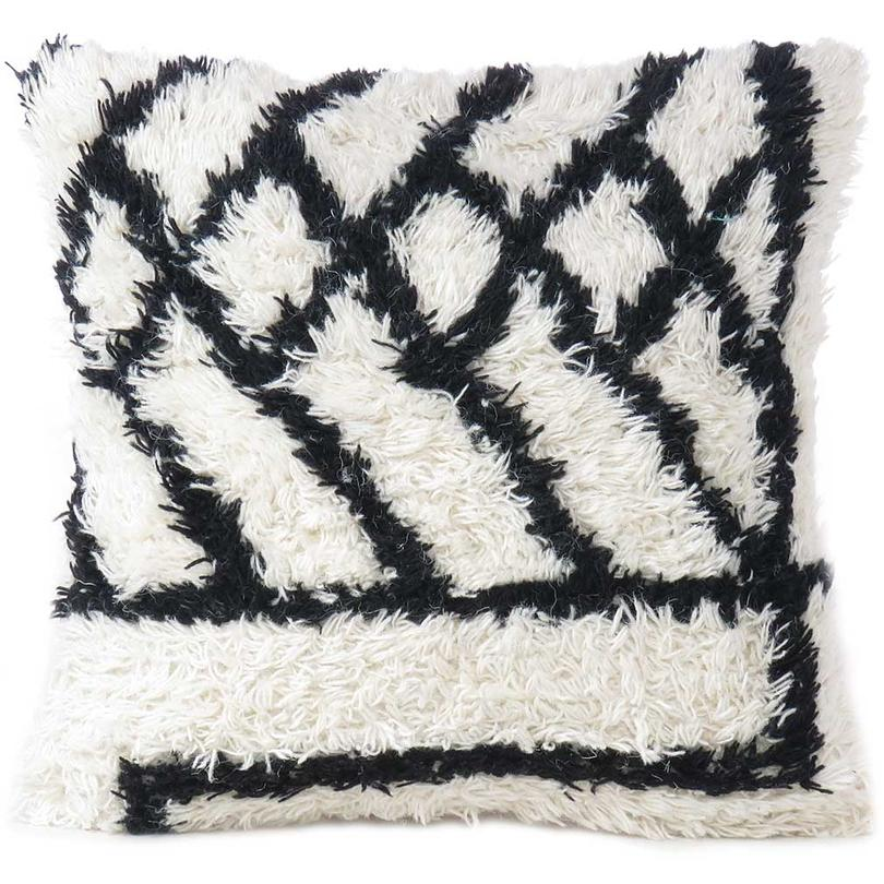 """Woven Wool Boho Pillow Cover with Tassels, Shag Decorative Bohemian Cushion Cover - 20"""""""
