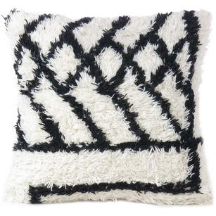 "20"" White Black Woven Pillow Tufted Wool Embroidered on Cotton Cushion Cover Cas"