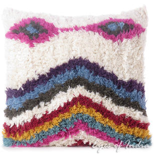 Pink Blue Pillow Woven Tufted Colorful Wool Embroidered on Cotton Cushion Cover Fringe Couch Sofa Throw Bohemian - 20""