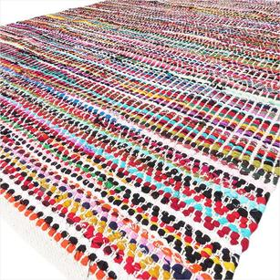 White Decorative Colorful Woven Chindi Multicolor Rug Braided Area Rag Rug Bohemian Accent Boho Chic Indian Handmade Handwoven