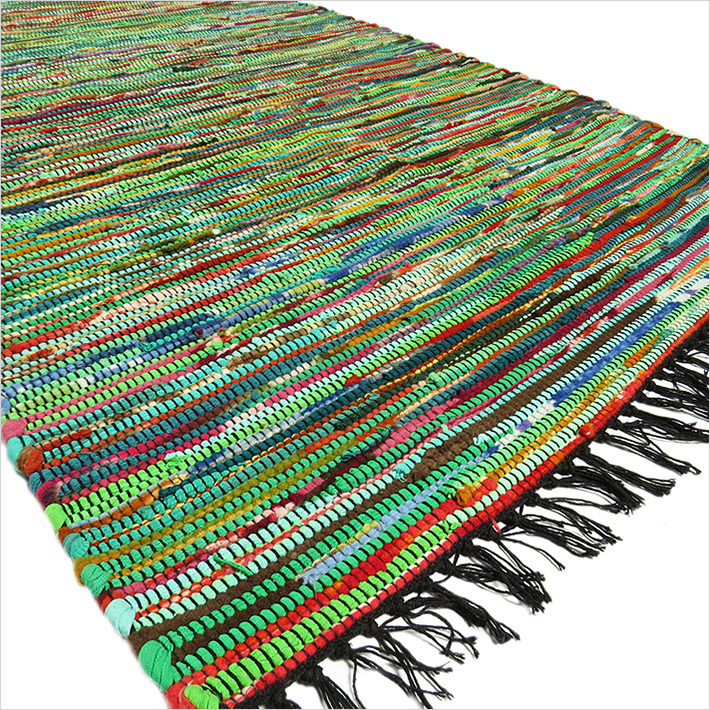 Green Colorful Decorative Chindi Woven Bohemian Boho Rag Rug - 3 X 5 ft