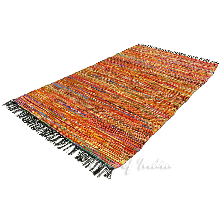 Orange Decorative Colorful Woven Bohemian Chindi Boho Rag