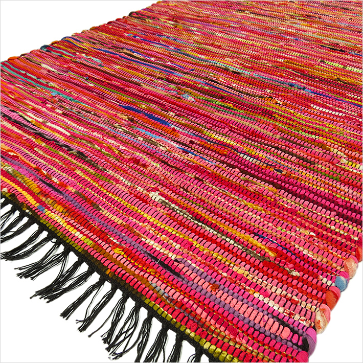 Pink Decorative Colorful Woven Chindi Boho Bohemian Rag