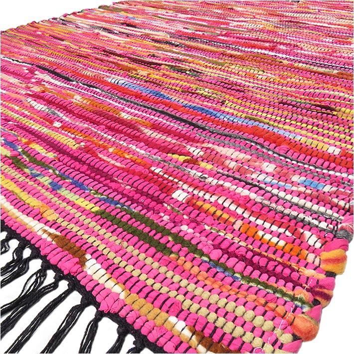 Pink Decorative Colorful Woven Chindi Boho Bohemian Rag Rug - 3 X 5 ft
