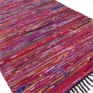 Purple Decorative Colorful Woven Chindi Bohemian Boho Rag Rug - 3 X 5 ft