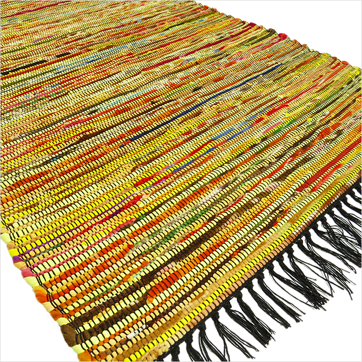 Yellow Bohemian Rug, Yellow Rag Rug