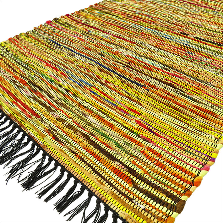 Yellow Colorful Decorative Woven Chindi Bohemian Boho Rag Rug - 3 X 5 ft