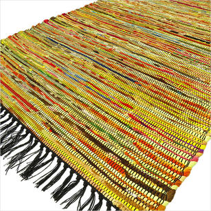 Yellow Colorful Decorative Woven Chindi Bohemian Boho Rag Rug - 3 X 5 ft