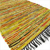 Yellow Colorful Decorative Woven Chindi Bohemian Boho Rag Rug - 3 X 5 ft 1