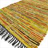 Yellow Colorful Decorative Woven Chindi Bohemian Boho Rag Rug - 3 X 5 ft 1