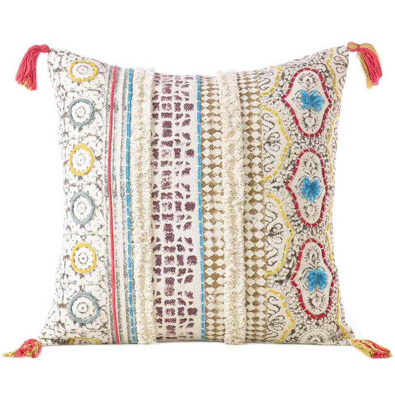 Off-White Cream Boho Pillow Embroidered Cushion Cover Decorative Couch Sofa Throw Bohemian Boho - 20""