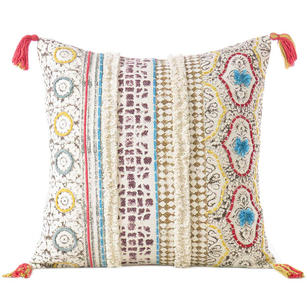 "Off-White Cream Boho Pillow Embroidered Cushion Cover Decorative Couch Sofa Throw Bohemian Boho - 20"""