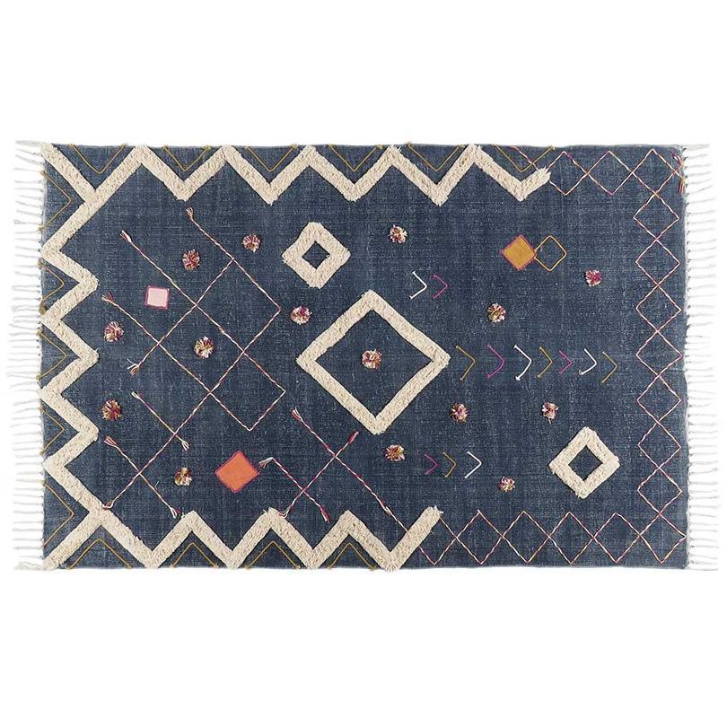 Blue Off-White Cotton Yarn Embroidered Woven Fringe Boho Bohemian Tassel Rug - 4 X 6 ft