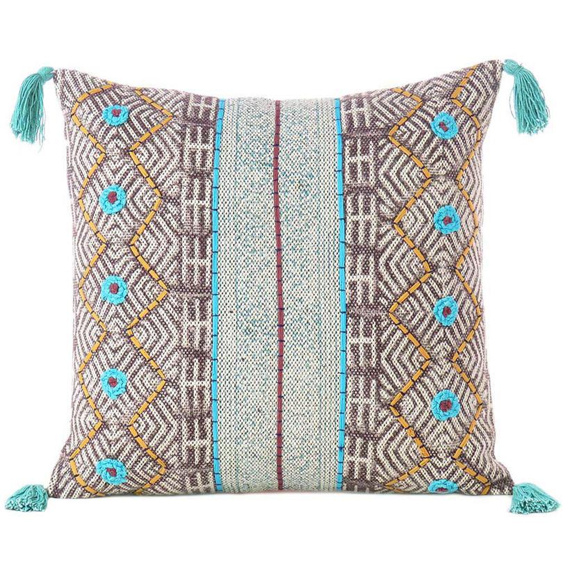 "Burgundy Blue Decorative Fringe Tassel Pillow Boho Couch Sofa Maroon Throw Bohemian Colorful Cushion Cover  - 20"""