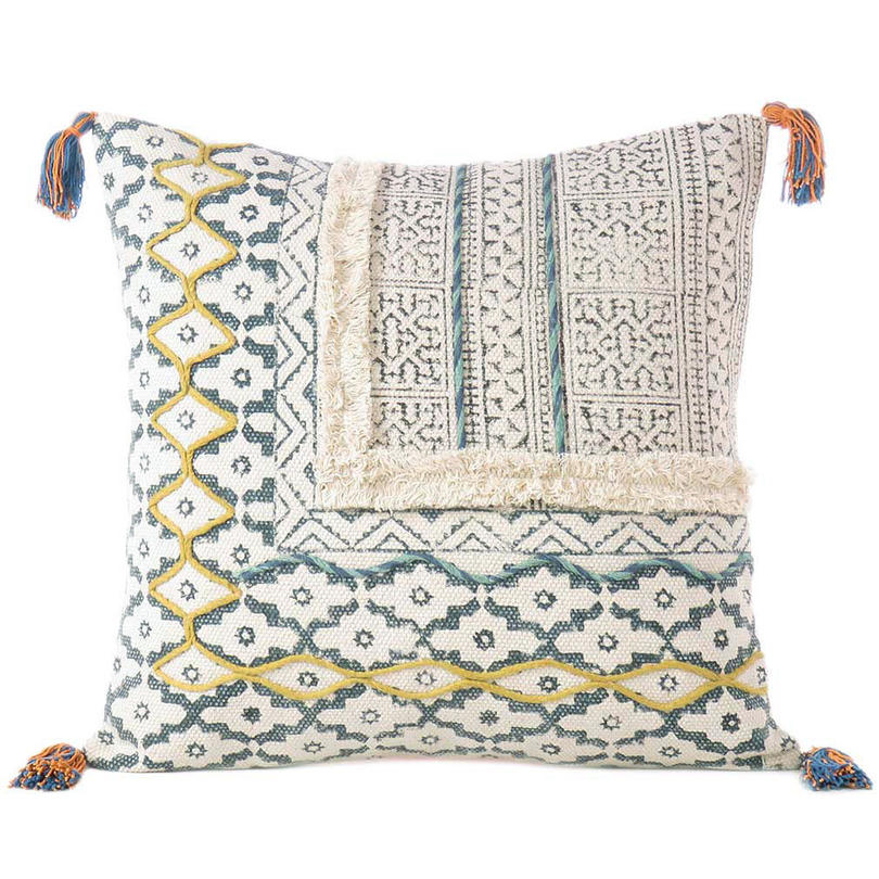 """White Cream Decorative Textured Fringe Tassel Pillow Cotton Cushion Couch Sofa Throw Bohemian Colorful Cover - 20"""""""