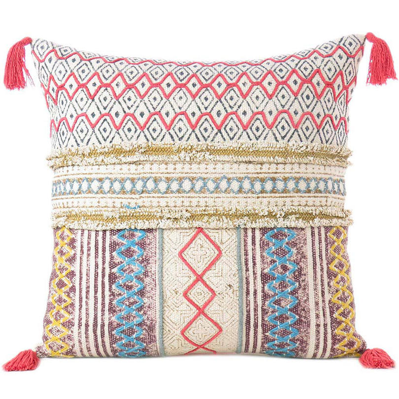 White Colorful Decorative Fringe Tassel Pillow Cotton Cushion Couch Sofa Throw Bohemian Colorful Boho Cover  - 20""