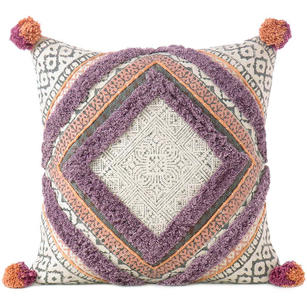 Purple Orange Decorative Fringe Tassel Pillow Cotton Cushion Couch Sofa Throw Bohemian Colorful Boho Cover  - 20""