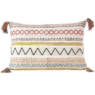 White Multicolor Decorative Fringe Tassel Pillow Cotton Cushion Couch Sofa Throw Bohemian Boho Cover - 16 X 24""