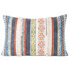 "Orange Blue Decorative Fringe Tassel Pillow Cotton Cushion Couch Sofa Throw Bohemian Colorful Boho Cover  - 16 X 24"" 1"