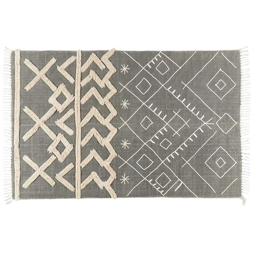 Grey Off-White Cotton Yarn Gray Embroidered Woven Fringe Boho Bohemian Tassel Rug - 4 X 6 ft