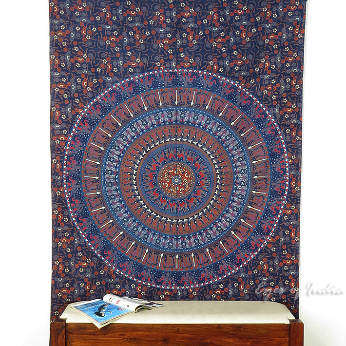 Indian Twin Size Bohemian Tapestry Wall Hanging Elephant Throw Hippie Bedspread