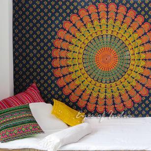 Boho Hippie Mandala Wall Hanging Bedspread Bohemian Elephant Tapestry - Small/Twin