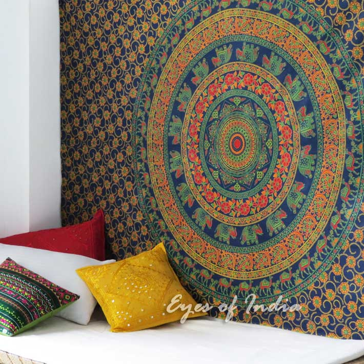 Small Twin   Elephant Indian Mandala Tapestry Bedspread Beach