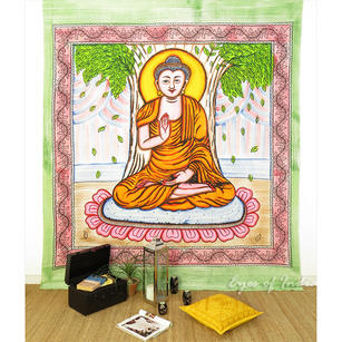Orange Buddha Wall Hanging Bohemian Hippie Tapestry Boho Bedspread - Large/Queen