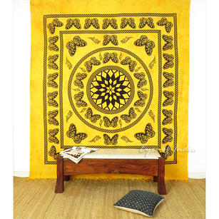 Butterfly Colorful Mandala Tapestry Bohemian Wall Hanging Bedspread - Large/Queen