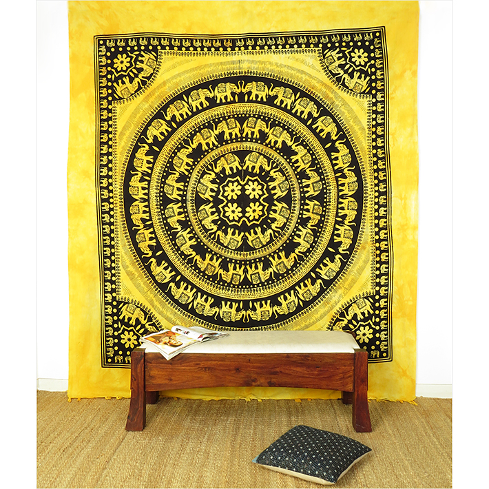 Colorful Hippie Mandala Boho Elephant Tapestry Bedspread Wall Hanging - Large/Queen