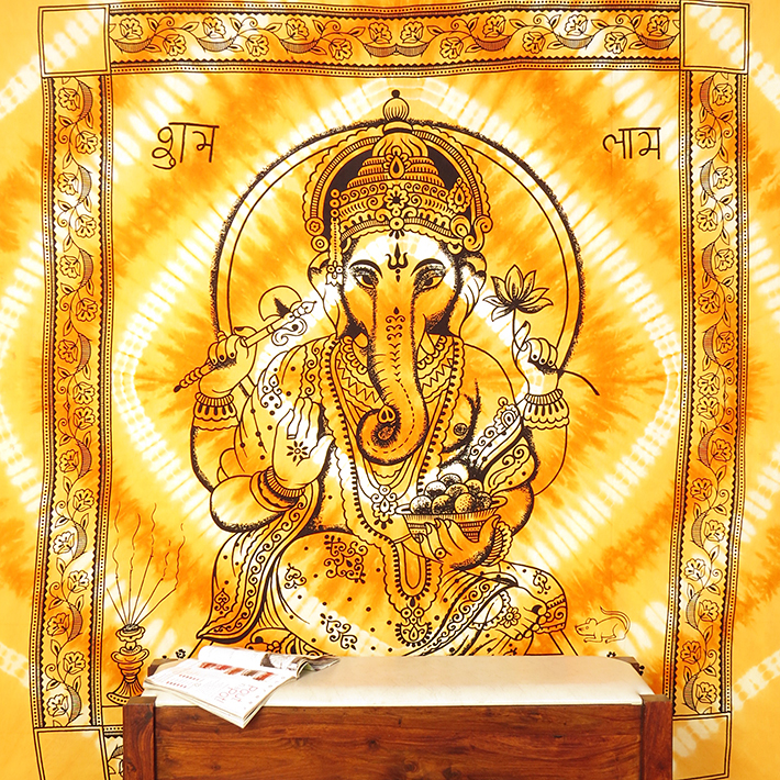 Large Queen Orange Indian Elephant Mandala Ganesha Tapestry Bedspread Beach Dorm