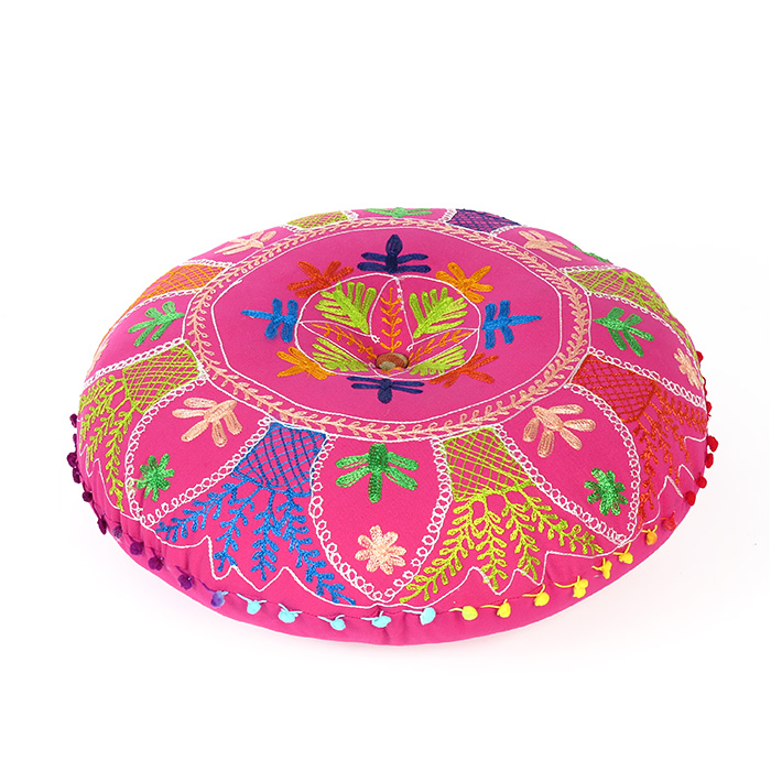 Pink Round Embroidered Floor Pillow Seating Meditation Cover - 24""