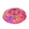"Pink Round Embroidered Floor Pillow Seating Meditation Cover - 24"" 1"