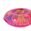 "Pink Round Embroidered Floor Pillow Seating Meditation Cover - 24"" 2"