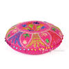 "Pink Round Embroidered Floor Pillow Seating Meditation Cover - 24"" 3"