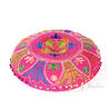 "Pink Round Embroidered Floor Pillow Seating Meditation Cover - 24"" 4"