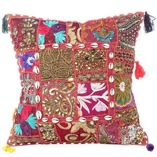 Red Burgundy Cushion Cover Case Patchwork Sofa Couch Bohemian Accent Colorful Boho Chic Handmade Throw Pillow