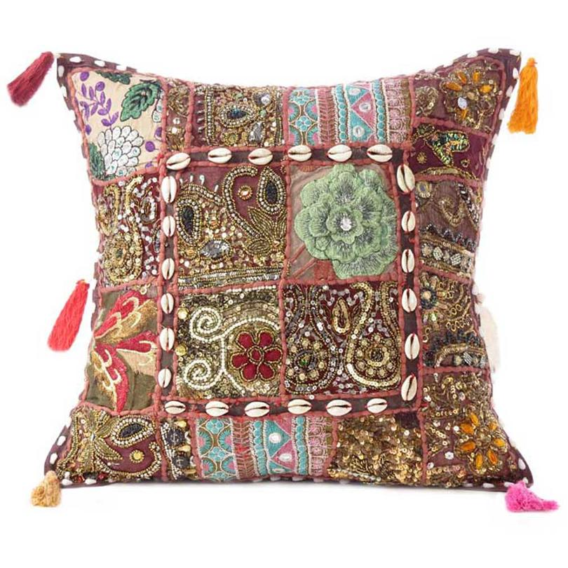 Brown Colorful Patchwork Sofa Couch Boho Chic Bohemian Accent Handmade Throw Pillow Case Cushion Cover