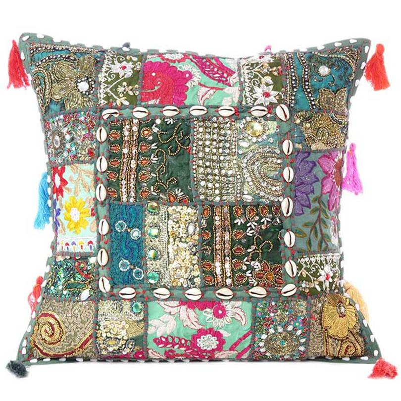 Green Patchwork Colorful Decorative Sofa Cushion Throw Boho Chic Bohemian Accent Couch Pillow Case Cover