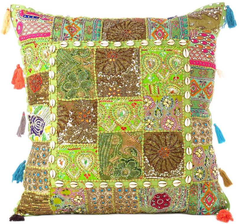 Olive Colorful Decorative Patchwork Cushion Couch Bohemian Accent Boho Chic Throw Sofa Pillow Cover Case