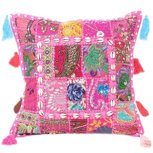 Pink Patchwork Decorative Pillow Sofa Throw Accent Colorful Boho Chic Handmade Couch Cushion Cover Case